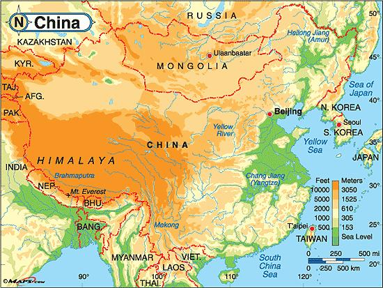 China Altitude Map China Elevation Map Eastern Asia Asia