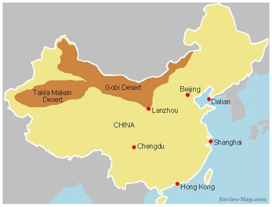 Deserts in China map   Map of China deserts (Eastern Asia   Asia)