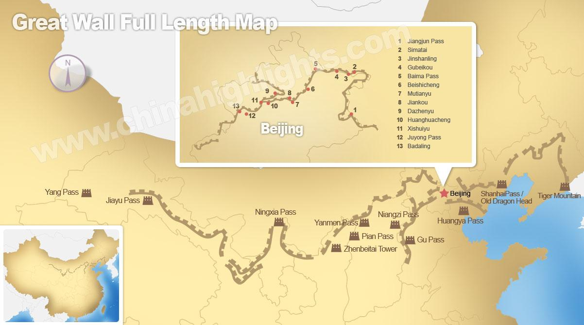 Great wall of China map - The great wall of China map (Eastern Asia ...