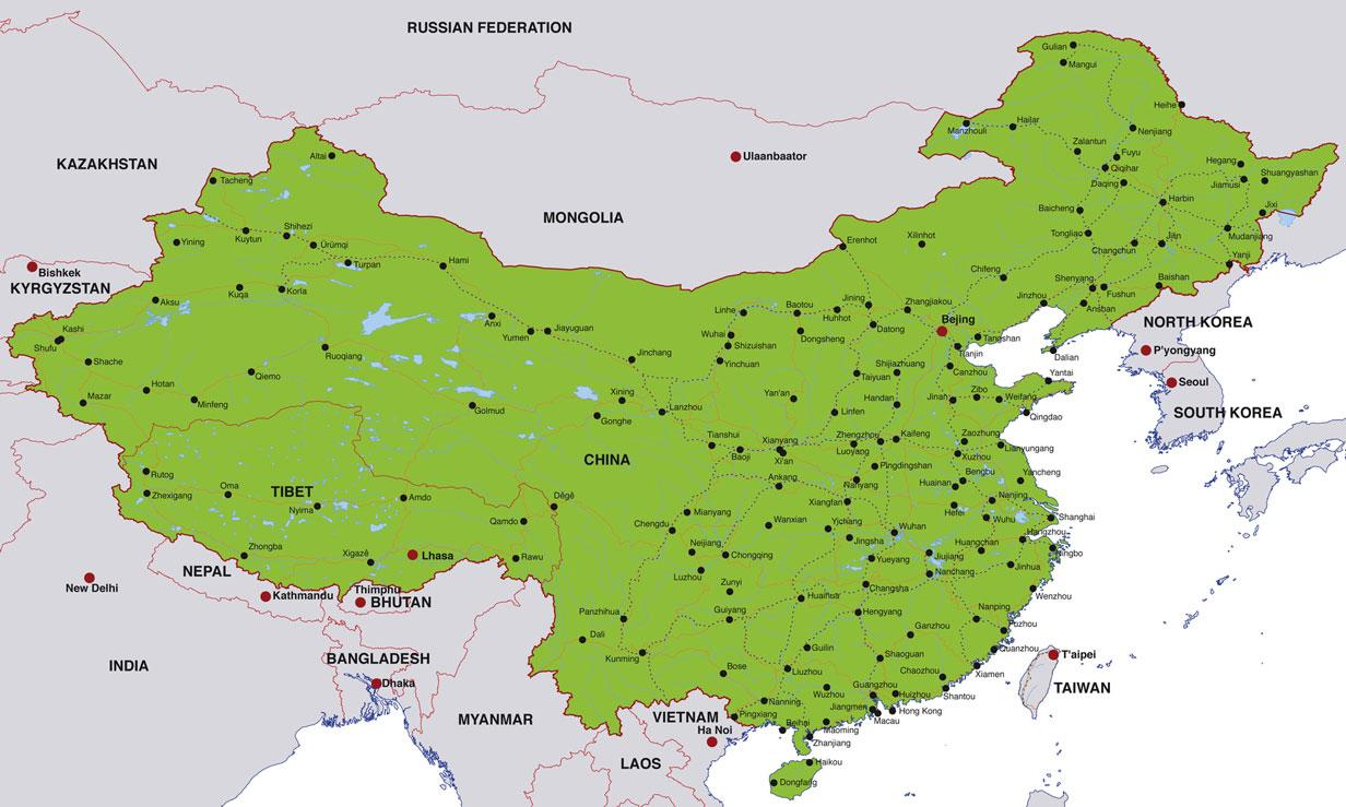 Map Of China Cities China Map Of Cities Eastern Asia Asia