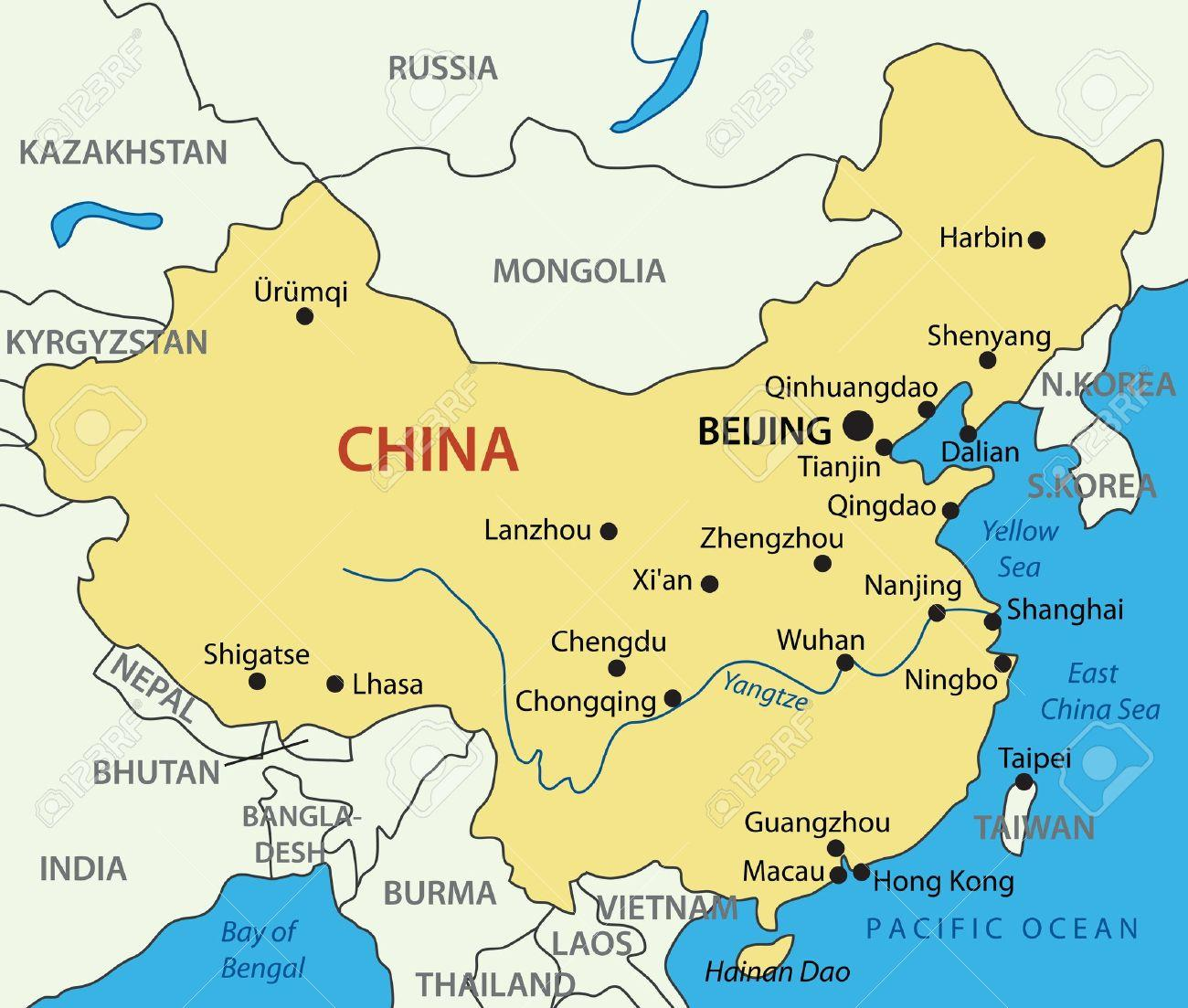 Map of China yellow sea Yellow sea China map Eastern Asia Asia