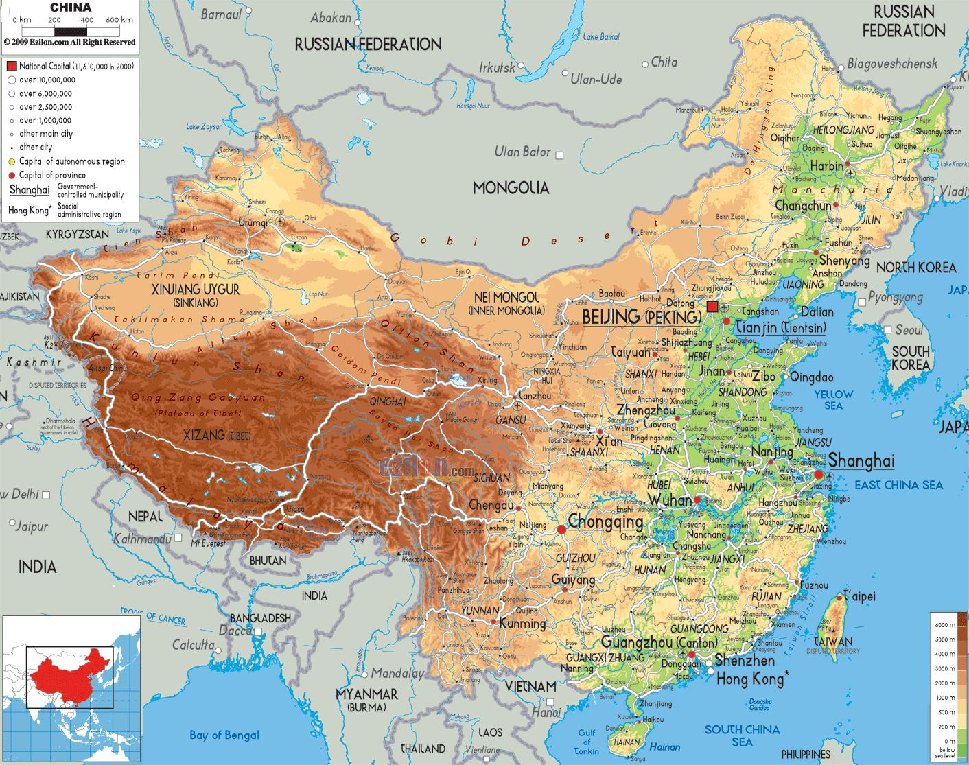 Physical Map Of China Physical Map China Eastern Asia Asia