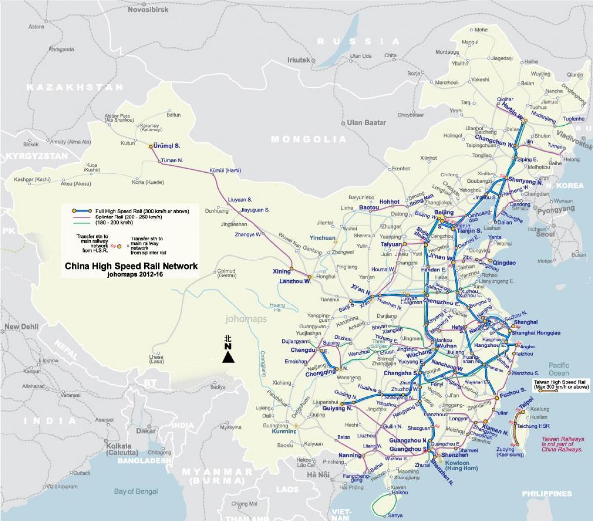 high speed rail China map