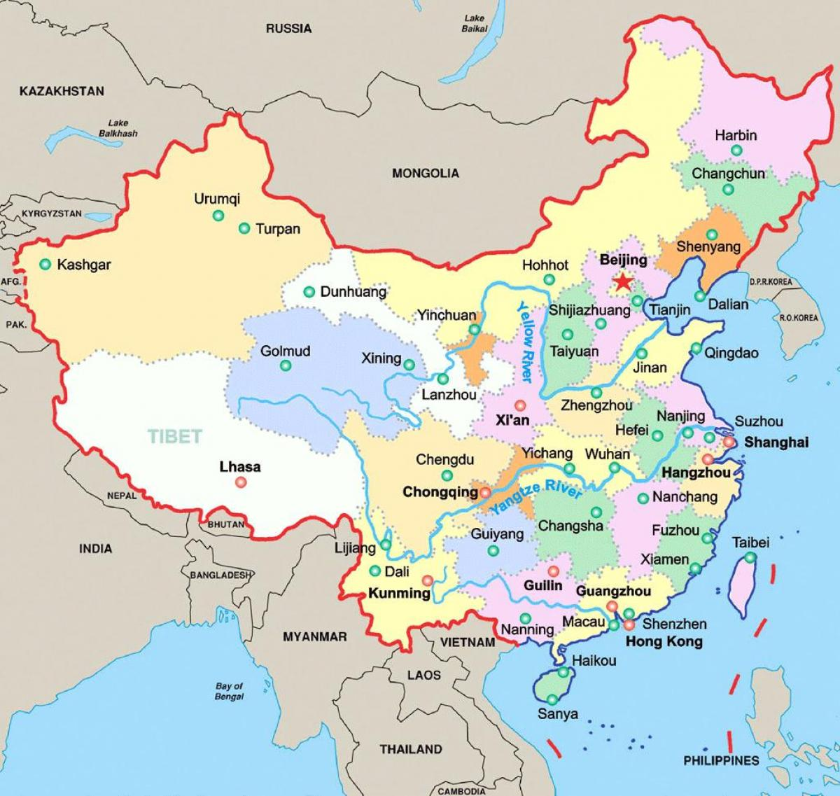 china map major cities Map Of China With Major Cities China Major Cities Map Eastern china map major cities