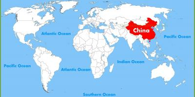 China on a world map