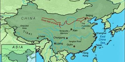 China wall map - Map of China great wall (Eastern Asia - Asia)